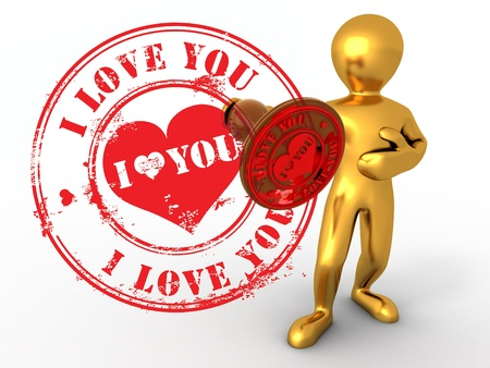 private i: Men with stamp i love you. 3d Stock Photo