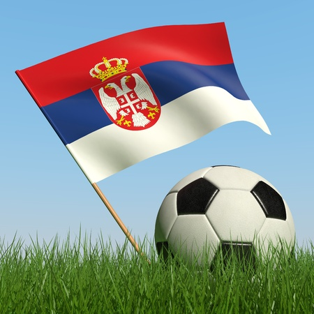Soccer ball in the grass and the flag of Serbia against the blue sky. 3d photo
