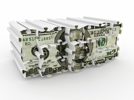 Puzzle from dollar on white isolated background. 3d Stock Photo - 8779628