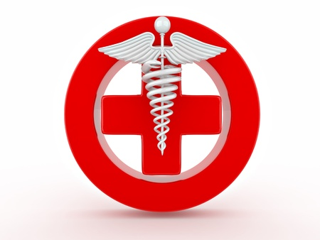 caduceus: Sign of medicine on white isolated background. 3d