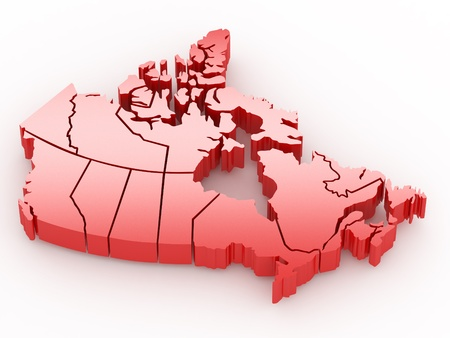 map of canada: Three-dimensional map of Canada on white isolated background. 3d Stock Photo