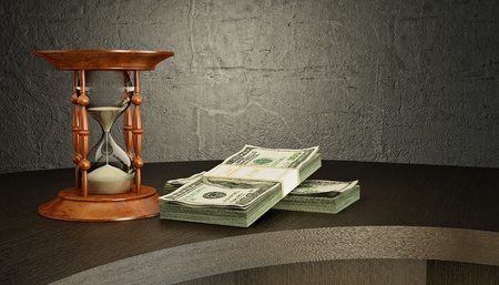 Hourglass and money on the desk. 3d photo