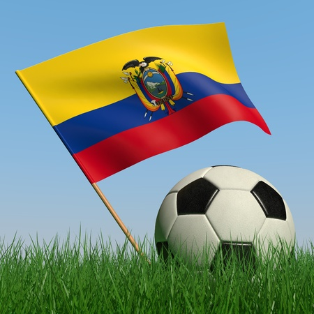 Soccer ball in the grass and the flag of Ecuador against the blue sky. 3d photo