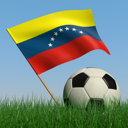 Soccer ball in the grass and the flag of Venezuela against the blue sky. 3d photo