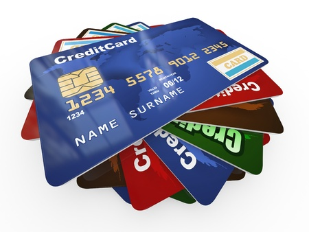 card payment: Stack of credit cards on white isolated backgrond. 3d Stock Photo