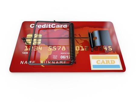 mousetrap: Credit card as mousetrap. Conceptual image. 3d