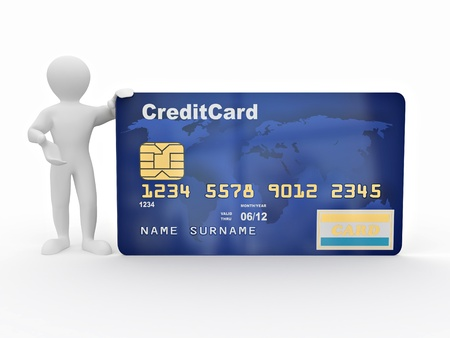 Men with credit card on white isolated background. 3d Stock Photo - 8779606