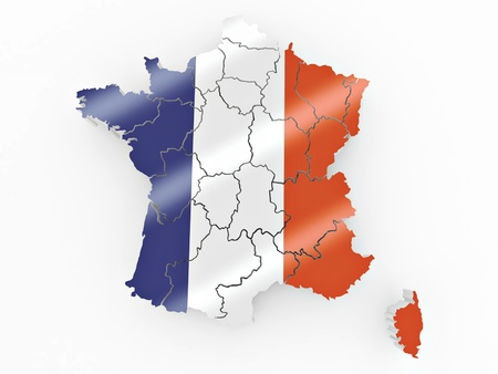 Map of France in French flag colors. 3d photo
