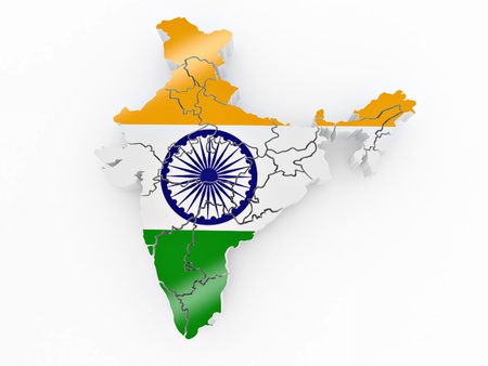 digitally generated image: Map of India in Indian flag colors. 3d