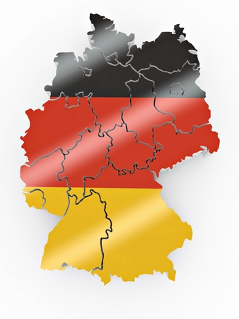 regions: Map of Germany in German flag colors. 3d Stock Photo