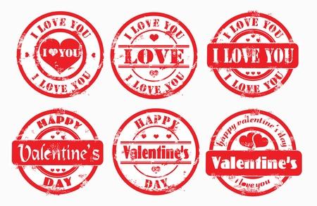 carta de amor: Sello feliz San Valent�n y yo te amo. Ilustraci�n vectorial. Foto de archivo