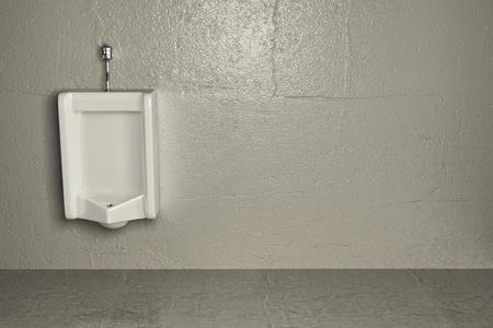 latrina: Orinatoio sul muro sporco. Astratto. 3D