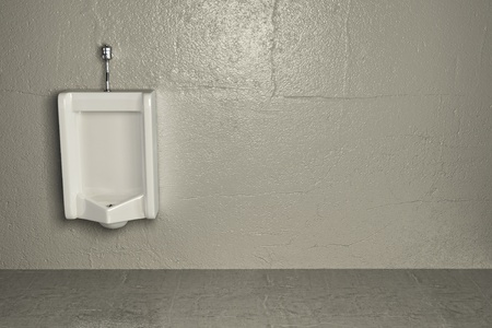Urinal on dirty wall. Abstract background. 3d photo