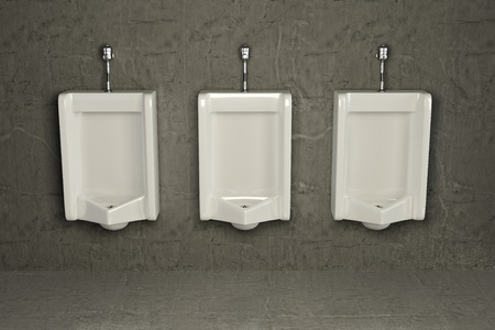 mensroom: Urinals on dirty wall. Abstract background. 3d
