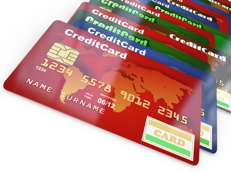 Stack of credit cards on white isolated backgrond. 3d photo