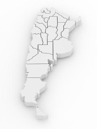 extruded: Mappa tridimensionale di Argentina su sfondo bianco isolato. 3d Archivio Fotografico