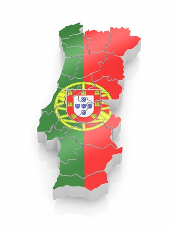 portugal flag: Map of Portugal in Portugese flag colors. 3d