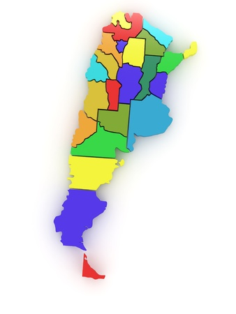 Three-dimensional map of Argentina on white isolated background. 3d Stock Photo - 8919981