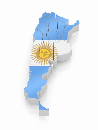 Map of Argentina in Argentinian flag colors. 3d photo