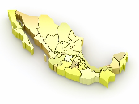 mexico background: Three-dimensional map of Mexico on white isolated background. 3d Stock Photo