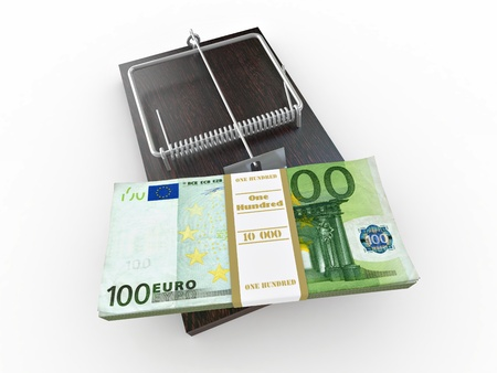 Mousetrap with euro on white isolated background. 3d photo