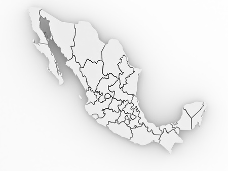 Three-dimensional map of Mexico on white isolated background. 3d photo