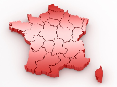 Three-dimensional map of France on white isolated background. 3d photo