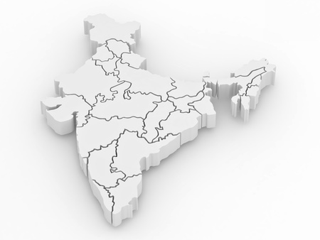 dimensional: Three-dimensional map of India on white isolated background. 3d Stock Photo
