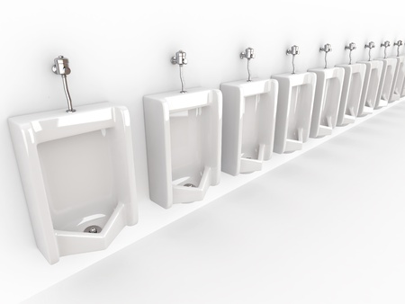 mensroom: Row of urinals on white isolated background. 3d Stock Photo