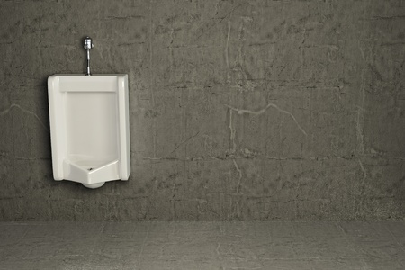 mensroom: Urinal on dirty wall. Abstract background. 3d Stock Photo