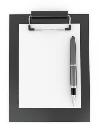 Pen on clipboard. Empty sheet of paper. 3d Stock Photo - 8975646