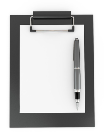 Pen on clipboard. Empty sheet of paper. 3d Stock Photo - 8975646