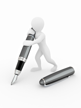 contracts: Men with pen on white isolated background. 3d