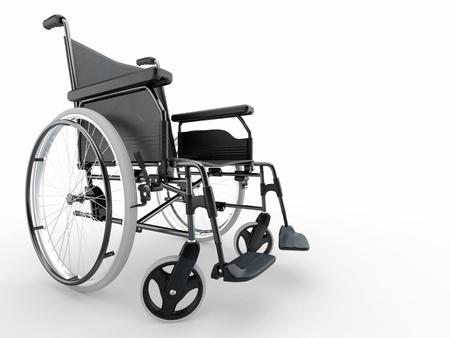 silla de ruedas: Silla vac�a sobre fondo blanco aislado. 3D Foto de archivo