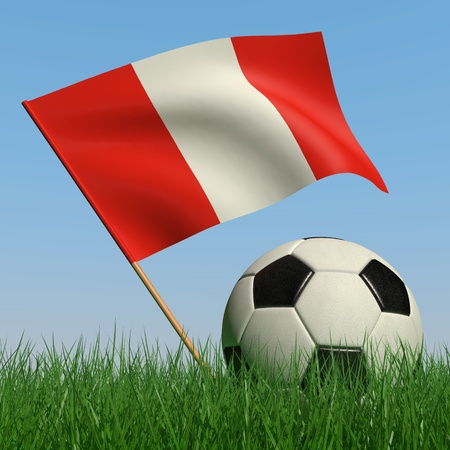 Soccer ball in the grass and the flag of Peru against the blue sky. 3d photo