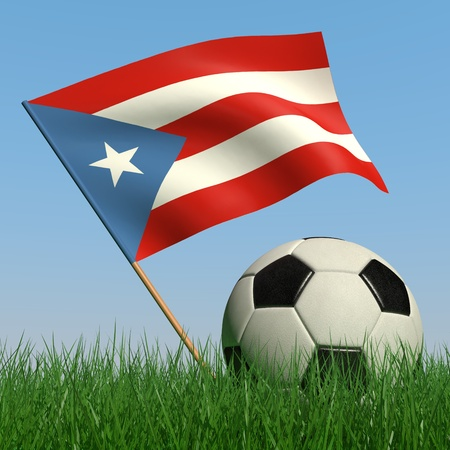 puertorico: Soccer ball in the grass and the flag of Puerto-Rico against the blue sky. 3d