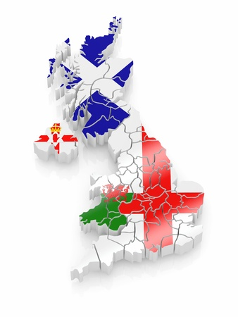cantons: Map of Great Britaine in national flag colors. 3d