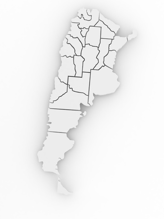 Three-dimensional map of Argentina on white isolated background. 3d Stock Photo - 8975637