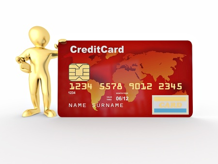Men with credit card on white isolated background. 3d photo