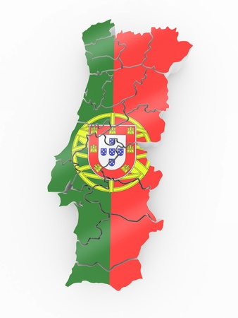 portugese: Map of Portugal in Portugese flag colors. 3d