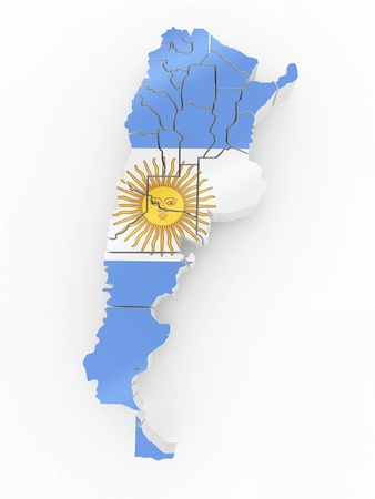 Map of Argentina in Argentinian flag colors. 3d