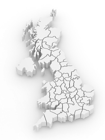great britain: Three-dimensional map of Great Britain on white isolated background. 3d