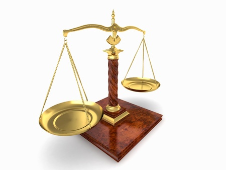 Symbol of justice. Scale on white isolated background. 3d Stock Photo - 8975666