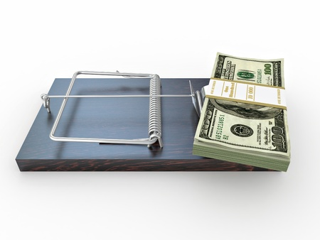 Mousetrap with dollar on white isolated background. 3d photo