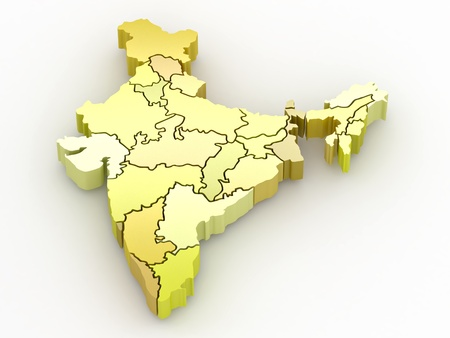 Three-dimensional map of India on white isolated background. 3d Stock Photo - 8975644