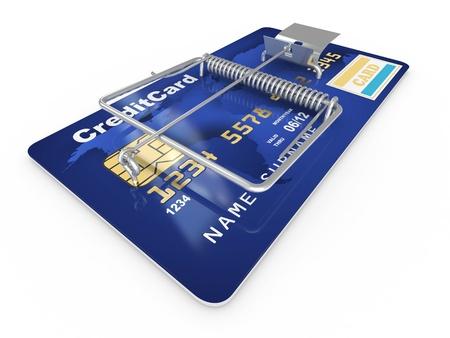 debt: Credit card as mousetrap. Conceptual image. 3d