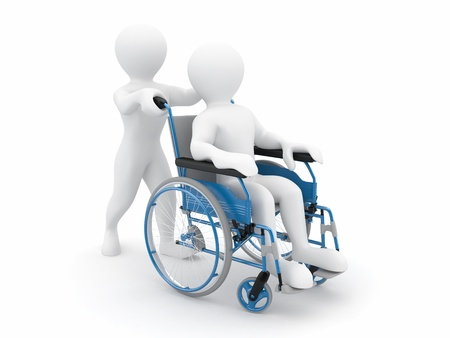 Men on wheelchair on white isolated background. 3d photo