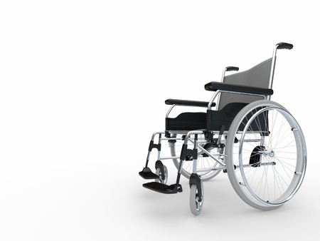 Wheel chair: Empty wheelchair on white isolated background. 3d