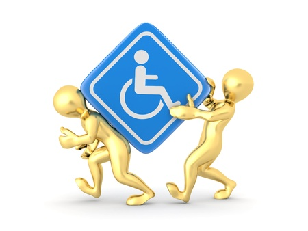 wheelchair access: Two men with sign wheelchair on white isolated background. 3d Stock Photo