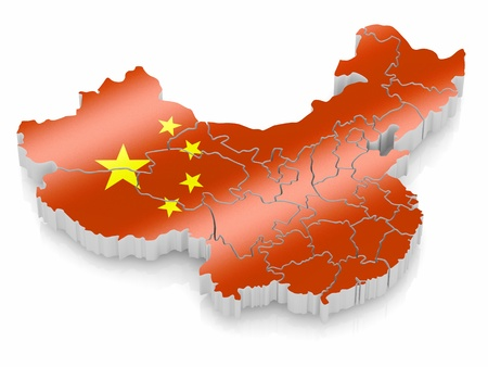 chinese map: Map of China in Chinese flag colors. 3d Stock Photo
